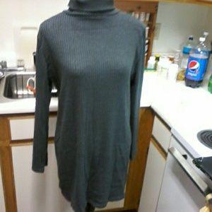 dark grey ribbed turtleneck sweater, xxxl